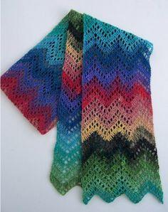 crochet ripple scarf with noro sock yarn. Crochet Ripple, Crochet Shawl, Crochet Yarn, Crochet Scarves, Crochet Clothes, Knitting Patterns, Crochet Patterns, Homemade Quilts, Crochet Cross