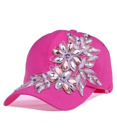 Ogquaton Rose Flower Embroidery Bling Rhinestone Baseball Cap Snapback Women Sun Hat 1