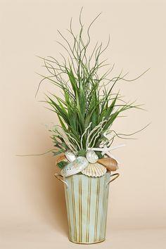"""18"""""""" High Aqua Tin Arrangement with Shells & Faux Grasses"""