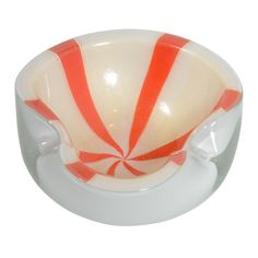 Murano Glass Bowl with Tangerine Swirl