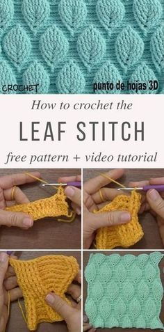 Elements of The Perfect - Easy Crochet Leaf Stitch Pattern -Crochet Gate: Leaf Stitch Crochet Pattern - Video Tutorial - no written pattern, for some reason :/Haven't found a written pattern for this yet. Leaf Stitch Crochet Pattern Tutorial and chart at Crochet Leaves, Crochet Motifs, Crochet Stitches Patterns, Stitch Patterns, Knitting Patterns, Different Crochet Stitches, Unique Crochet Stitches, Crochet Stitches Free, Crochet Patterns For Scarves