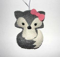 Wool Felt Arctic Fox Ornament Gray Fox Fox Ornament Baby