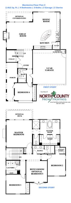 New Single and Two Story Homes for Sale in Carlsbad at Montecina – Floor Plan 3