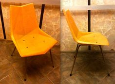 Origami en fibre de verre Rare PAUL McCOBB chaise chaise pêche saumon orange…