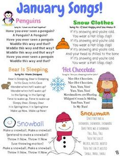January Songs January songs and finger plays! This resource can be used for circle time in a daycare, preschool, Pre-K, or Kindergarten classroom. This is also a great resource to send home with children to sing seasonal songs with their families. Kindergarten Songs, Preschool Music, Kindergarten Lesson Plans, Preschool Lessons, Kindergarten Classroom, Winter Preschool Songs, January Preschool Themes, Home School Preschool, Circle Time Ideas For Preschool