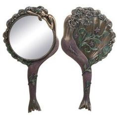 Art Nouveau Collectible Mermaid Hand Mirror Nymph Decoration. Beautiful detailed mirror for mermaid lovers