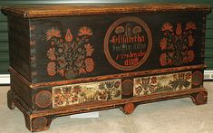 """Painted furniture: Lift-Top Chest with Two Drawers, Pennsylvania (possibly Northampton County vicinity), 18th century (inscription reads """"Elizabetha Knissin anno 1798 den 2den augst,"""" which means """"Elizabetha Kniss, August 2, 1798"""")"""