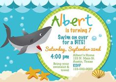 Scary shark birthday pool party invite shark scary and birthdays items similar to birthday party invitation shark sea for boy photo diy printable on etsy filmwisefo Images
