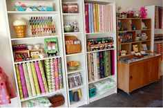 Bookshelves in a craft room
