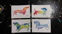 ACEO Original Paintings Set of 4(four) Watercolor Dachshunds - E.Delacruz #IllustrationArt