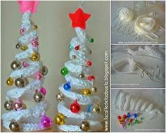 Christmas Trees--Could make these on spool knitter--add wire & shape into tree YOU NEED: Tricotin Wool Wire Bodkin needle Tapest.Crochet Patterns Christmas How to DIY Crochet Christmas Tree with Ornaments DIY Desktop Christmas Tree Topiary Desktop Christmas Tree, Christmas Tree Topiary, Crochet Christmas Trees, Crochet Christmas Ornaments, Holiday Crochet, Christmas Knitting, Christmas Crafts, Christmas Decorations, Xmas Tree