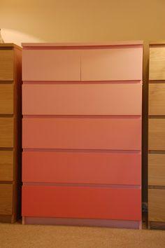 PAINT MALM DRESSER pink ombre dresser
