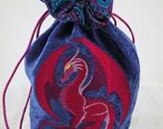 Large Red - Maroon Dragon Dice Bag with Lining Dragon Dies, Dice Bag, Nerd Love, Embroidery Ideas, Dungeons And Dragons, Red Gold, High School, Sun, Sewing