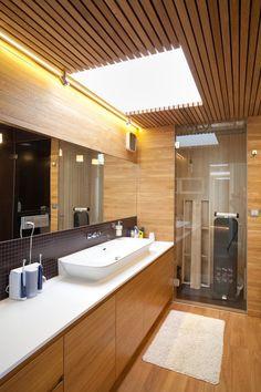 House with ZERO Stairs / Przemek Kaczkowski & Ola Targonska (Structural Engineering: Slawomir Pruchnik) - Wroclaw, Poland Warm Bathroom, Bathroom Ideas, Glazed Walls, Wood Cladding, Amazing Decor, Beautiful Bathrooms, Bathroom Interior, Villas, Stairs