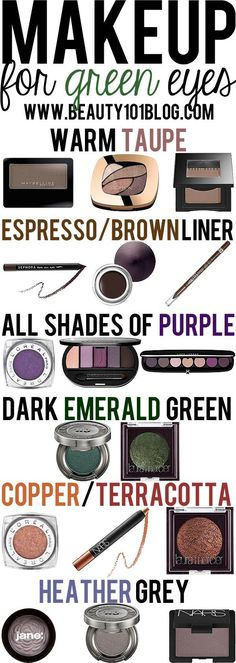 Do you have green eyes? This post is for you! Check out all the best makeup colors to help your green eyes stand out. (I don't exactly have green eyes. I have greenish hazel eyes. Beauty 101, Diy Beauty, Beauty Hacks, Beauty Ideas, Makeup For Green Eyes, Love Makeup, Green Eyes Pop, Eyeshadow For Green Eyes, Makeup Stuff