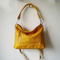 Yellow leather cross body bag MAX yellow leather hobo by Adeleshop