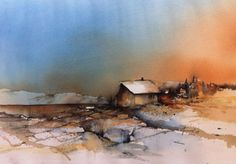 (100) Akvarellmaler Hanna Jakobsen Landschaft Haus