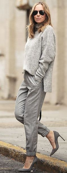 Gray Monochromatic Textures Fall Street Style Inspo by Brooklyn Blonde