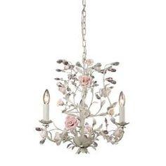 3 Light Chandelier Lighting Fixture, Cream, Porcelain Flowers with Crystal, Elk