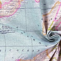 world map fabric - craft supply - yardage - map fabric - fabric map of the world - world fabric - blue fabric on Etsy, $17.50