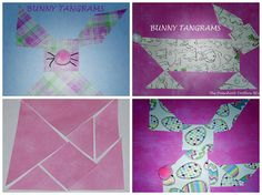 Teaching Spatial Relationships, Geometric terms, and Problem solving with Tangram Bunny Crafts for Preschool & Kindergarten - The Preschool Toolbox Blog