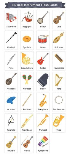32 ideas for music instruments free printable Learn English Words, English Study, English Lessons, English Language Learning, Teaching English, Teaching Music, Teaching Reading, English Vocabulary, English Grammar