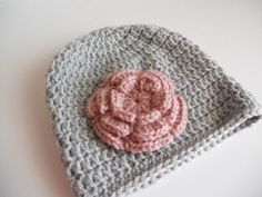Crochet baby hat baby girl hat beanie grey hat by needlepointnmore,