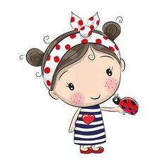 Miss Beetle heart plotter file - Plotten - Cartoon Cute Images, Cute Pictures, Cute Cartoon Girl, Clip Art, Cute Clipart, Cute Illustration, Cute Drawings, Doodle Art, Cute Kids