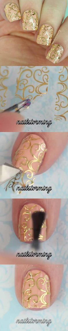 Best Nail Art Ideas for Brides - Filigree Stickers - Simpe, Cute, DIY NailArt Tutorials That Are Step By Step For Brides. Everything From The Wedding Manicure To French Tips To Simple Sparkle and Bling For The Ring Finger. These Are Super Fun And Super Easy. - http://thegoddess.com/nail-art-ideas-for-brides