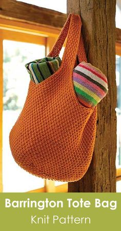 Barrington Tote Bag knit pattern. Oversized tote for everyday use. Skill level: east. Roomy and strong enough to hold it all. #affiliate #knitpattern