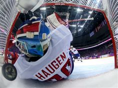 DAY 12:  Lars Haugen #30 of Norway during the Ice Hockey Men's Playoff Qualifications - Norway vs. Russia