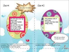 Easter Egg Hunt Clues,    Easter Egg Hunt Riddles,    Printable
