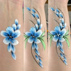 Step by step facepaint Step by step facepaint painting designs Face Painting Flowers, Face Painting Tips, Face Painting Tutorials, Face Painting Designs, Painting For Kids, Paint Designs, Cheek Art, Arm Art, Kids Makeup