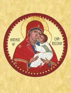 Round rather than the usual rectangle, the shape of this icon recalls the endless love between God and humanity. God seen in the human form of the Child Jesus, and humanity, represented by the Virgin Mary. Mother and Child wear expressions of deepest compassion and tenderness as they contemplate the process of redemption that they have begun together.