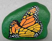 Monarch butterfly hand-painted on stone