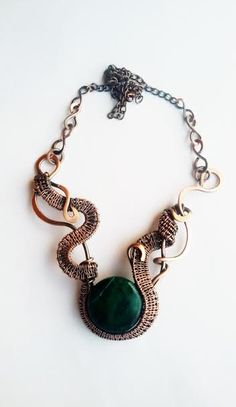 Copper wire wrapped necklace with Turquoise by Tangledworld