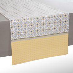 Runner da tavolo giallo/grigio in cotone L 150 cm OEIRAS