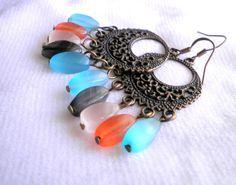 Yellow Cats Eye Bronze Earrings from juta ehted - my jewelry shop by DaWanda.com