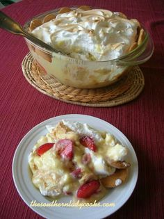 Old-fashioned banana pudding and strawberry pudding. :)