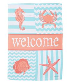 Impressions Coastal Collage 'Welcome' Outdoor Flag starfish crab seahorse fish beach house decor