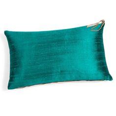 Turquoise BORA linnen en zijden kussen 30 x 50 cm