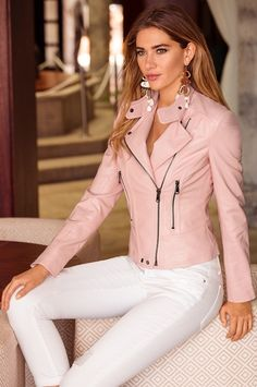 Boston Proper Moto Leather Jacket in Blush.  Love the color!