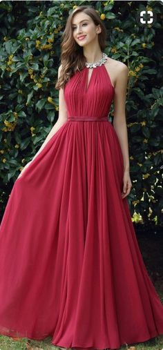 Burgundy Pleated Halter Formal Evening Dress