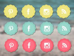 This set of free social media icons includes yellow, blue, and pink icons for Instagram, Facebook, Pinterest, Twitter, Blogger, and more.