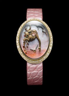 """Van 'T Hoff Time of the Monkey Art Watch By mid-afternoon, it is time to get curious with Van'T Hoff's charming single edition ladies' watch """"Time of the Monkey"""".  It would be sensible to listen to the monkey's words of wisdom, as he certainly knows which branch is best to swing on! Entertaining, smart, and master of practical jokes, watch out for some fun mischievousness. Do not be fooled by this little monkey's poker face, he is watching you as he plays with water, will you be splashed?"""