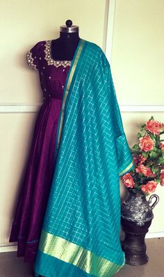 Indian Fashion Dresses, Dress Indian Style, Indian Designer Outfits, Girls Fashion Clothes, Half Saree Designs, Lehenga Designs, Saree Blouse Designs, Long Dress Design, Stylish Dress Designs