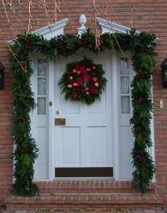 Nicely decorated Christmas front door