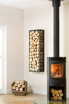 This Harrod Rectangle Steel Log Holder is made from square box section steel and will make your stacked wood into a stunning feature hung on a wall or floor standing, position it vertically or horizontally for an alternative and interesting profle. Wood Holder For Fireplace, Log Burner Fireplace, Small Fireplace, Wood Burner, Faux Fireplace, Living Room Shelves, Small Living Rooms, Home And Living, Log Burner Living Room