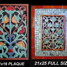 Stonelight Tile - San Jose, CA, United States. 16x11 Spanish Revival or Art Deco relief medallions suitable for kitchen or bath back splashes, fireplaces or fountains