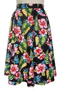 Hell Bunny Maui 1950's Tiki Skirt Black Floral Get ready for summer in South Pacific vintage style with this beautiful hibiscus print swing skirt. Pair with the matching tie top to complete the totally tropical look. http://www.audreystarsboutique.com/#!product/prd1/2151738045/hell-bunny-maui-1950%27s-tiki-skirt-black-floral